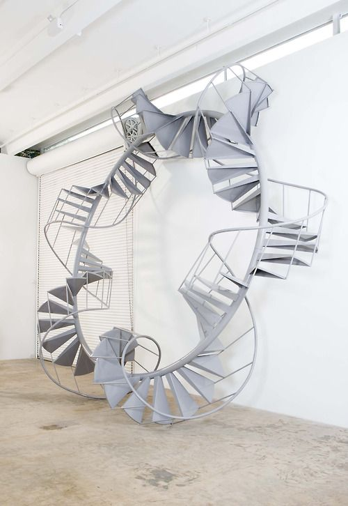 Chris Burden. I know a scene shop with stairs hanging from the ceiling...this is a great idea