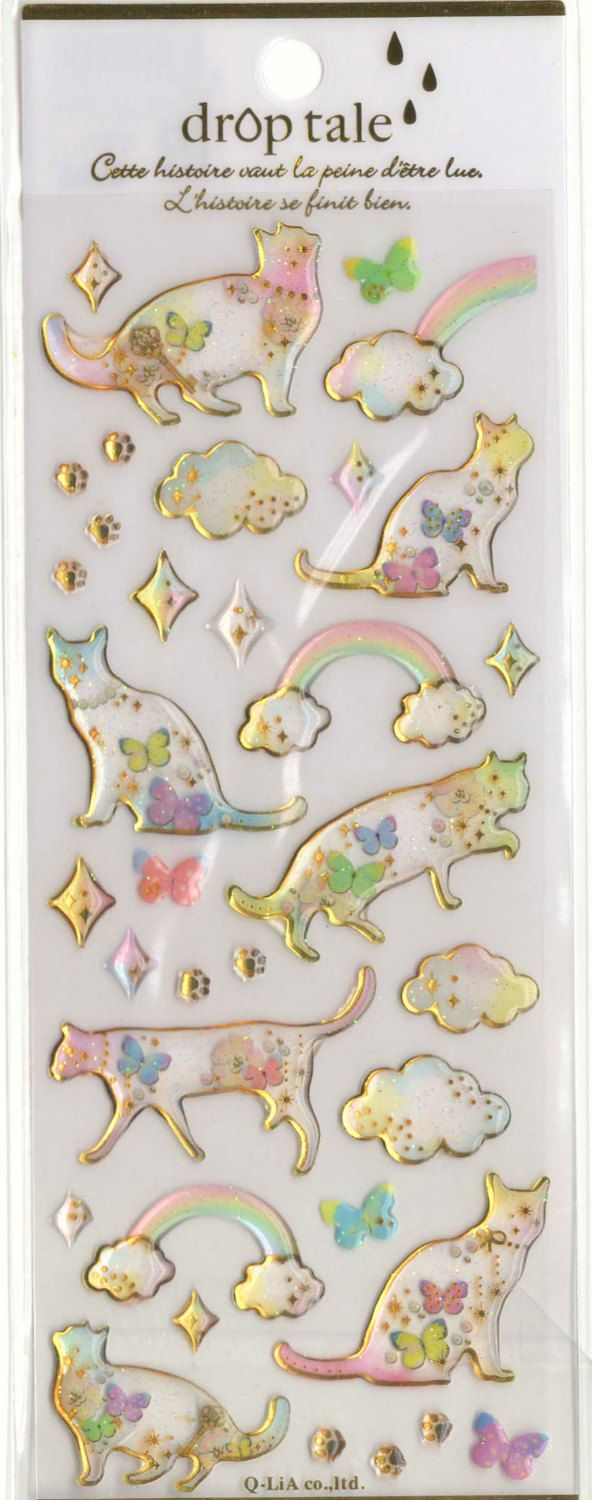 Kawaii Japan Sticker Sheet Assort Droptale Series: Cat with Paws Stars Butterfly Clouds Rainbow Twinkle Stars by mautio on Etsy