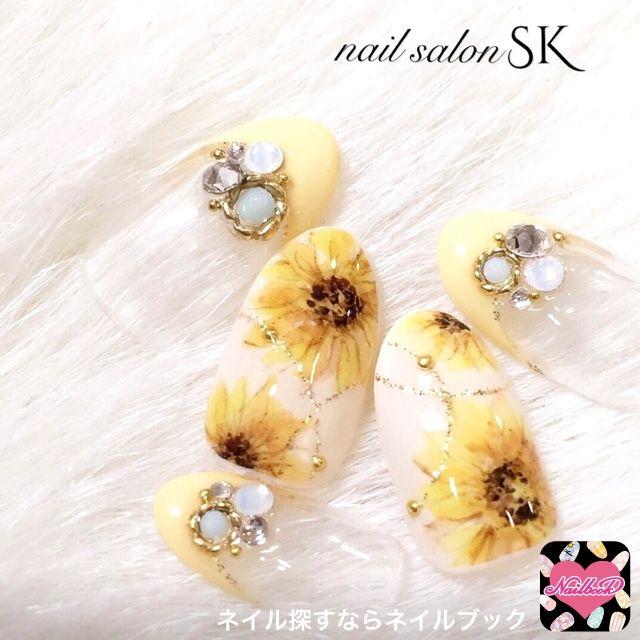 ネイル 画像 Nail salon SK 中津川 1558036 黄色 パステル フラワー フレンチ 夏 浴衣 リゾート