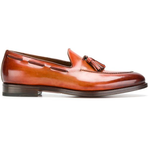 Santoni Goodyear loafers (1,146,195 KRW) ❤ liked on Polyvore featuring men's fashion, men's shoes, men's loafers, brown, mens flat shoes, mens leather shoes, leather sole mens shoes, mens tassel loafer shoes and mens brown loafer shoes