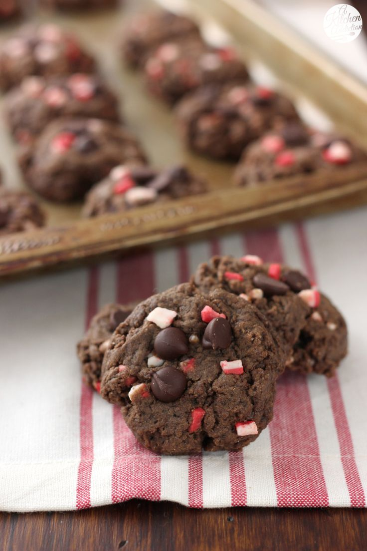 Dark Chocolate Peppermint Crunch Cookies Recipe from A Kitchen Addiction