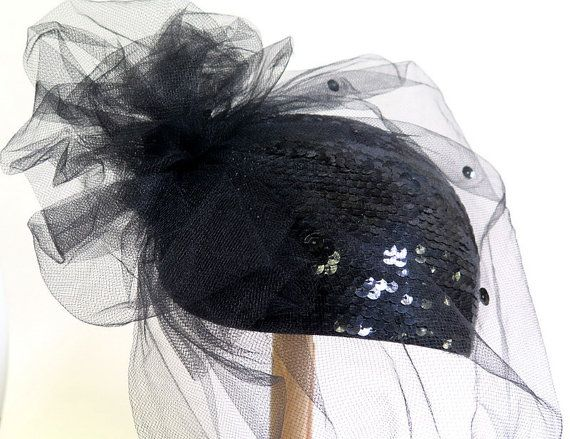 Fascinator Cap Hat Netting Sequins Vintage Black New Years