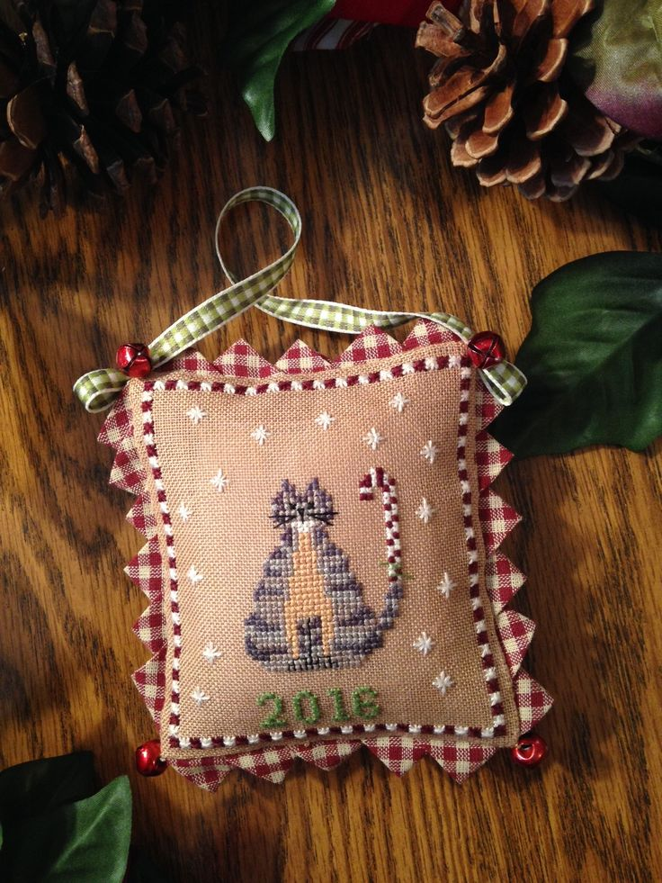 """""""Candy Klause"""" by Chessie & Me Cross Stitch Christmas Ornament"""
