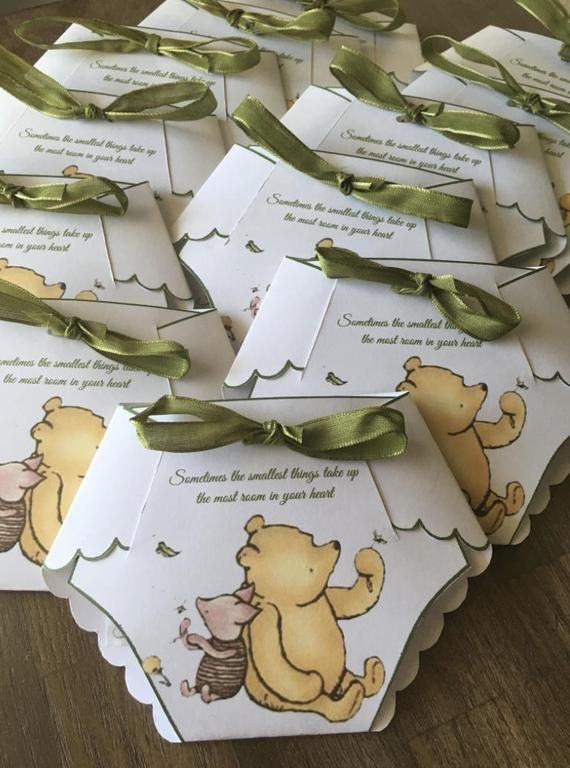 DIY Diaper Winnie the Pooh Invitation Template with Instructions – Make your own Diaper Invitation GIRL
