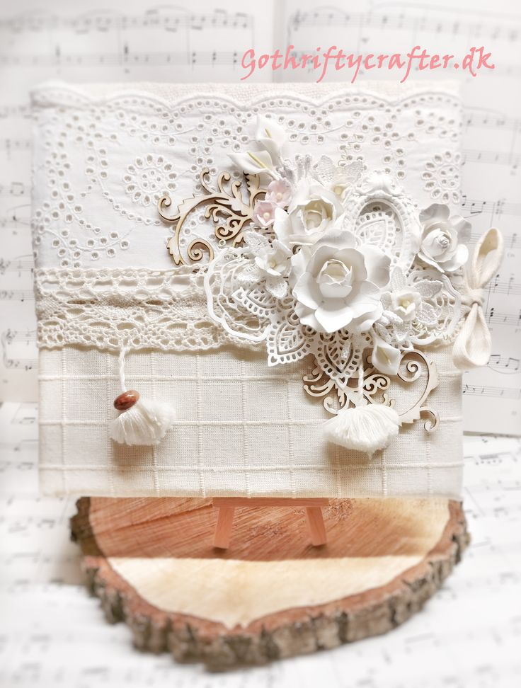 Scrapbook wedding guest book in beige and white, with elements of wood embellishments and die cuts, table cloth, lace, sack CLOTH. Roses, mould, swirls