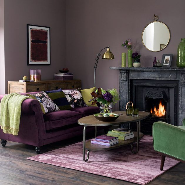 Modern Bohemian Living Room In Dusky Purple And Olive Green