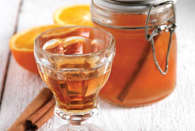 Homemade Orange Liqueur Flavored with Cinnamon