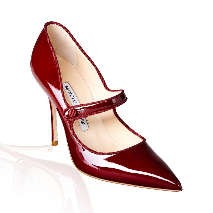 Manolo Blahnik Campari Patent Mary Jane Red - Patent leather in a chic point-toe fashioned with a Mary Jane strap & skinny heel for added elegance.