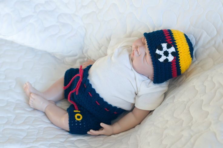 Baby Boy Soccer HAT & SHORTS Football Crochet Navy Blue Gold Crimson Red Columbia Flag Colors, Columbian Soccer Baby, Soccer Baby Knit Hat by Grandmabilt on Etsy