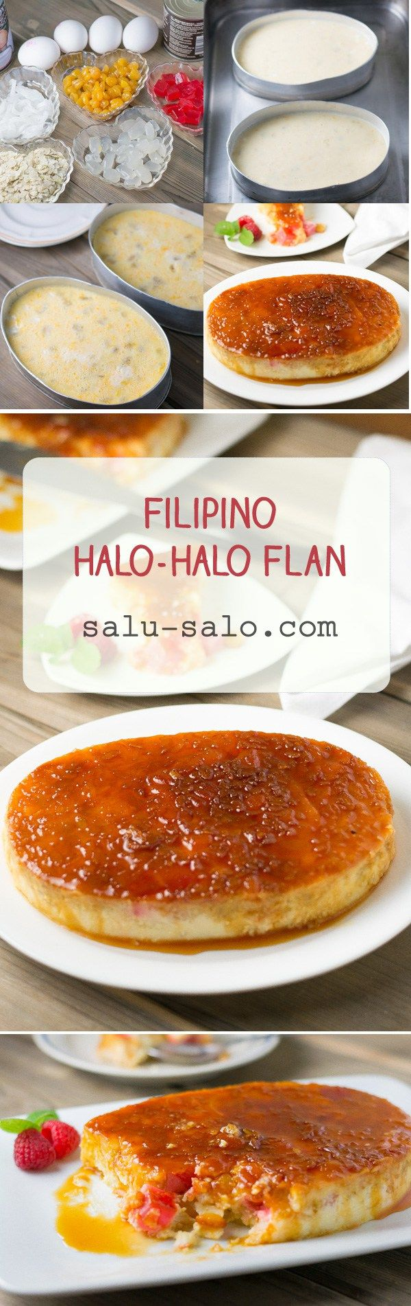 This halo halo flan recipe combines two favorite Filipino desserts: leche flan (caramel custard) and halo-halo (sweet fruits with shaved ice and milk).