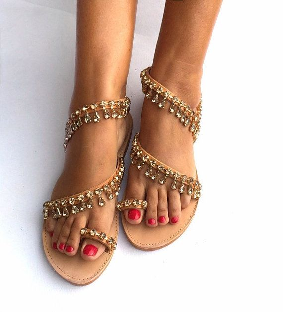 Leather Strappy Sandals ''Marguerite'' with by BohemianFootprints