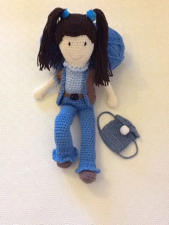 Amigurumi doll with jeans and belt by EvalestAmigurumi on Etsy