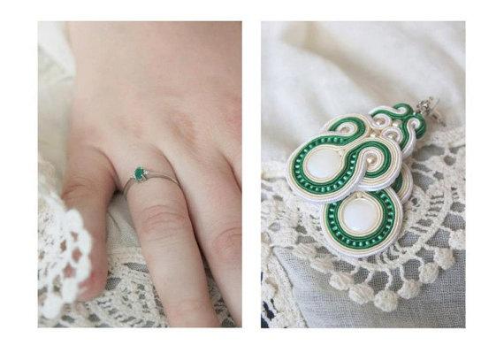 Ooak earrings white green ecru soutache embroidery by SaboDesign.