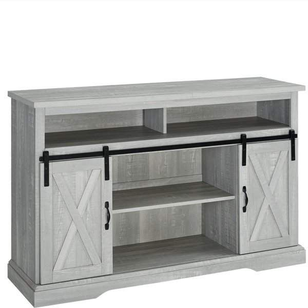 Walker Edison 52 Modern Farmhouse Sliding Barn Door Highboy Tv Stand Highboy Tv Stand Rustic Tv Stand Wood Entertainment Center