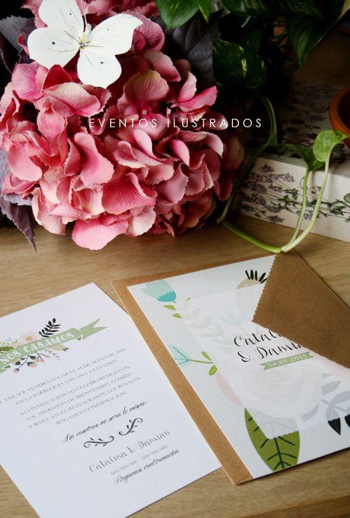 Invitaciones florales de boda. Perfectas para enlaces de primavera/verano llenas de alegría y color!