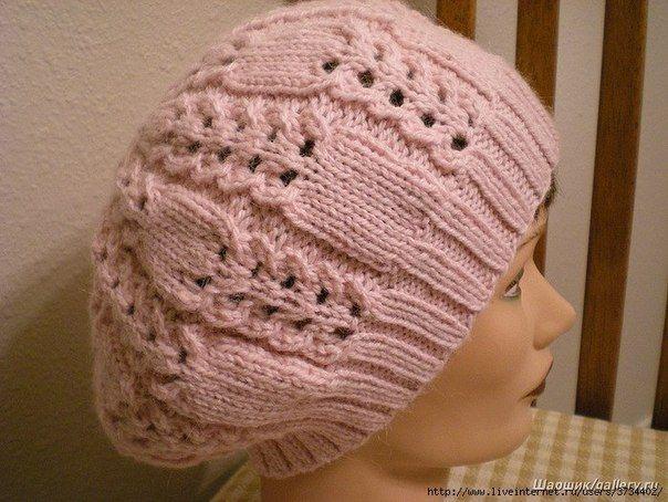 Теплая шапка с ажурным узором - Головные уборы
