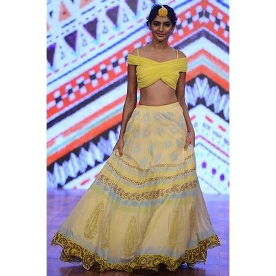 Fully printed lehenga skirt with off shoulder blouse! Send in your enquiries at sukritiandaakriti@gmail.com