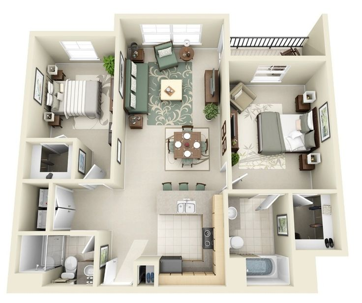 House plan 3d, 2 bedroom apartment