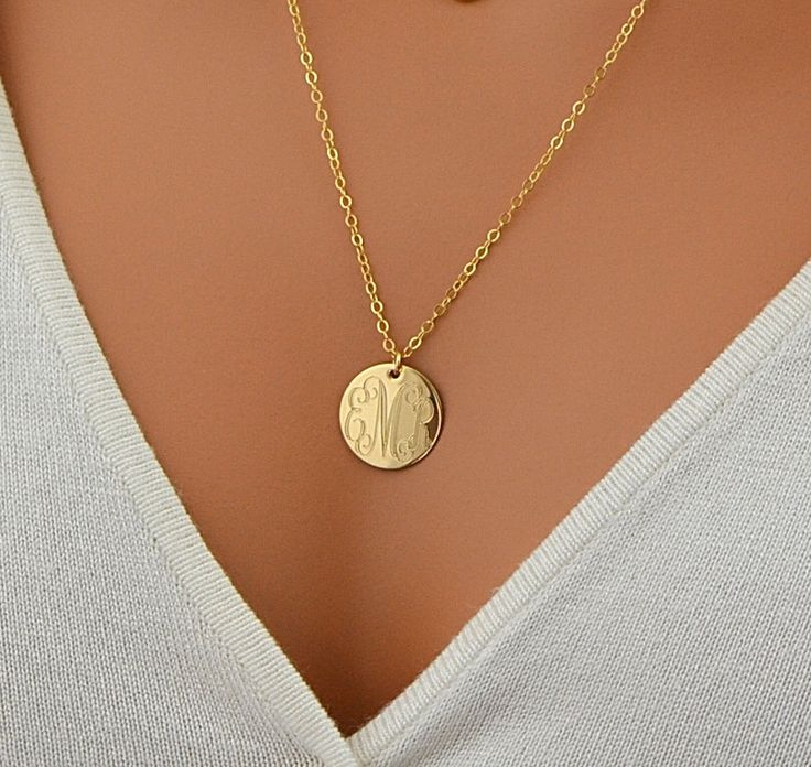 Large Disc Necklace, monogram Necklace, Gold Necklace, Circle Initial Necklace, Rose Gold, 14k Gold Fill, Sterling Silver Name Disc Necklace by MalizBIJOUX on Etsy https://www.etsy.com/listing/241932568/large-disc-necklace-monogram-necklace