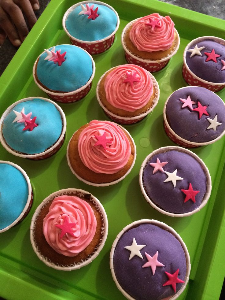 Pink, blue and purple star cupcakes