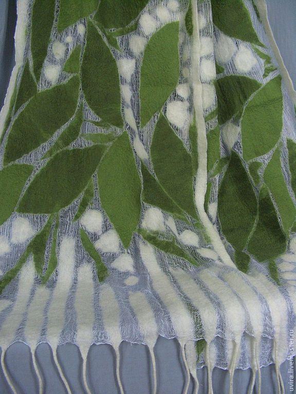 """Купить """"Ландыши"""" палантин - авторский войлок, нуно-фелтинг - цветочный, Аксессуары handmade, авторский войлок"""