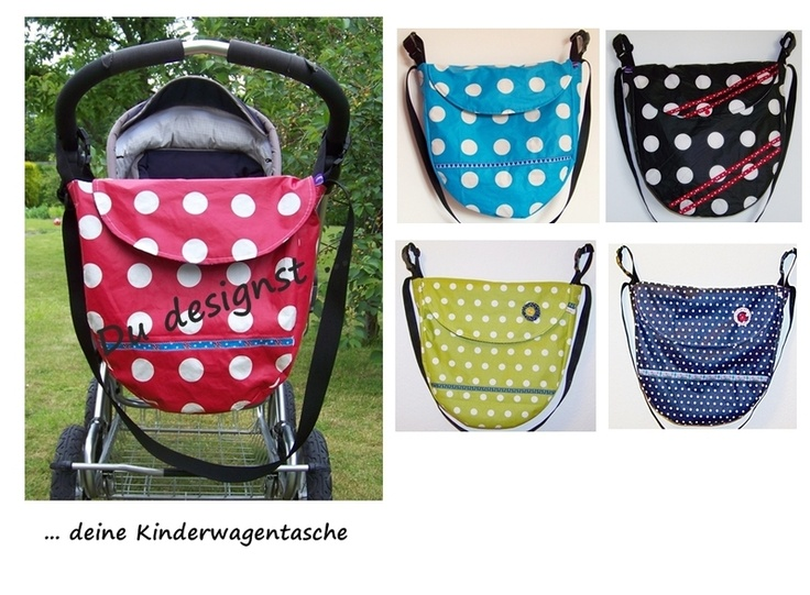 *Hier Designst du deine Tasche!!*    Ich nähe die Kinderwagentasche individuell nach dem Schnitt der abgebildeten roten Tasche.    Welche Farbe und we