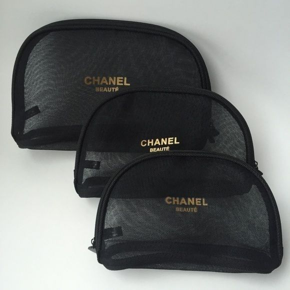 Chanel cosmetic bags set of 3  Chanel Beauté set of 3 Mesh Cosmetic Bags Brand new and never used. Black and Gold set of 3 cosmetic bags. Please inquire if you're interested in purchasing CHANEL Bags Mini Bags