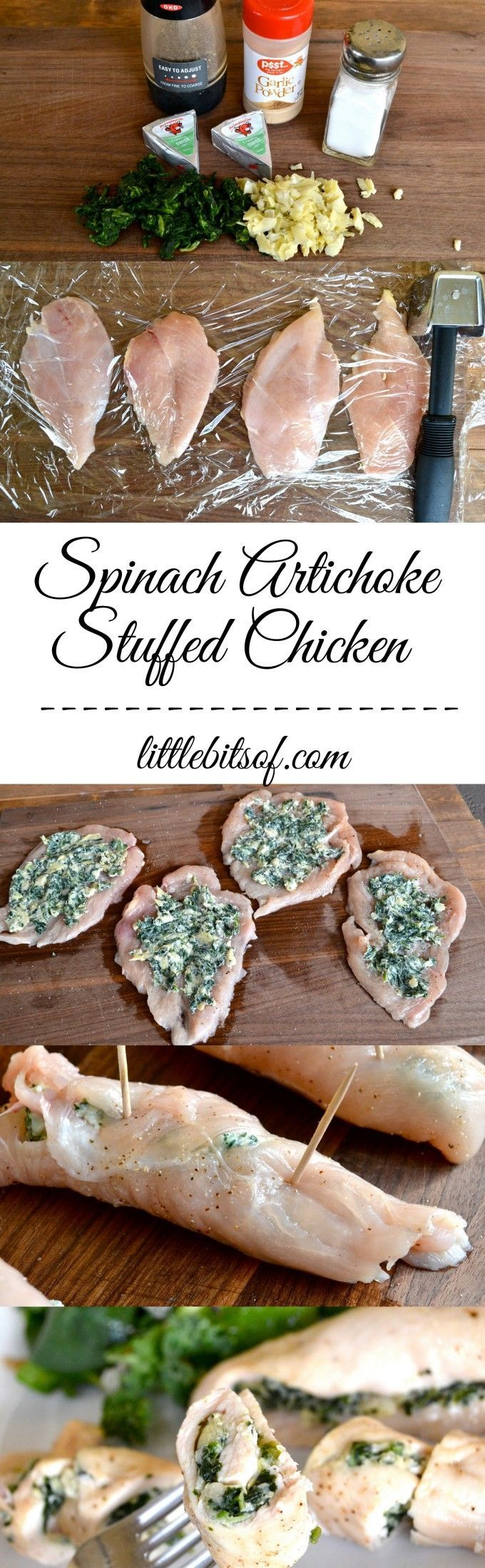 Spinach Artichoke Stuffed Chicken - Simple and only a few ingredients, cutting the chicken breasts in half then pounding makes them thin, stuff with laughing cow spinach artichoke mix, roll and bake! only 112 calories per chicken roll. #healthy