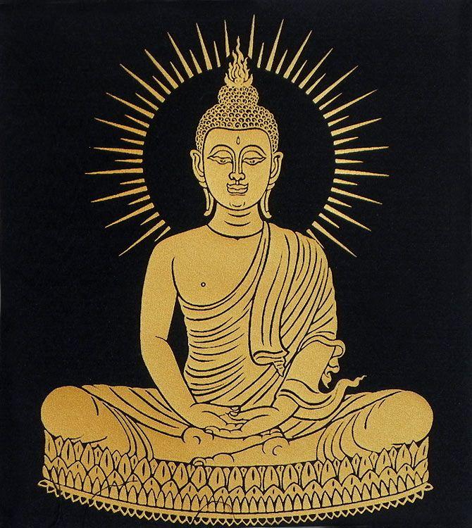 Meditating+Buddha+(Screen+Print+on+Silk+-+Unframed)