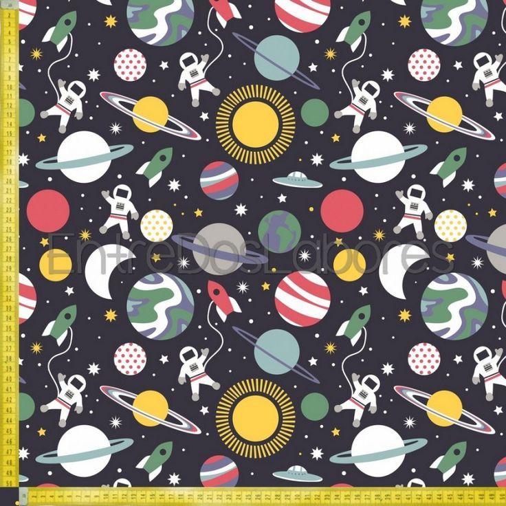 Tela de patchwork Blend Fabrics Mod. Planet buzz Galaxy navy.