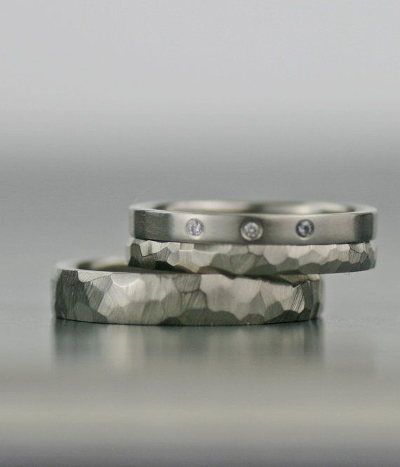 white gold modern three diamond engagement ring and wedding band set -  unique his and hers hers his his - recycled and conflict free
