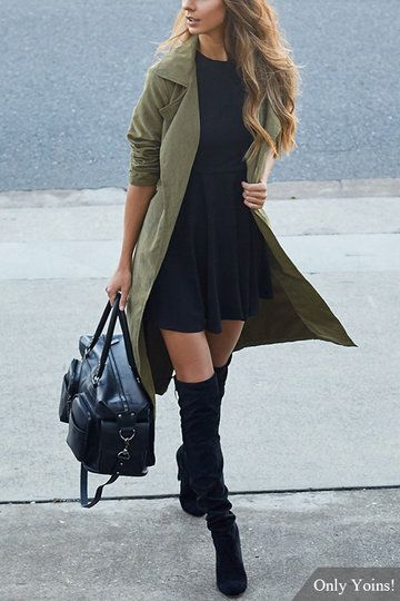 Army Green Lapel Collar Trench Coat With Self-tie Belt