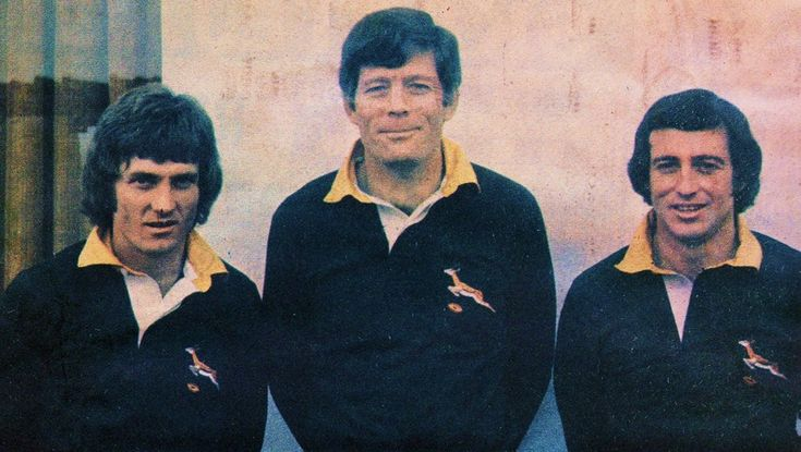 '76 - First test - The McLook rugby collection The three Transvalers -Paul Bayvel, Jan Ellis and Gerald Bosch- in the Springbok team who was considered to be key players for the Springboks.