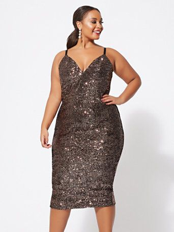 168bbe512047 Shop Tasha Sequin Knit Tank Dress. Find your perfect size online at the  best price at Fashion To Figure.
