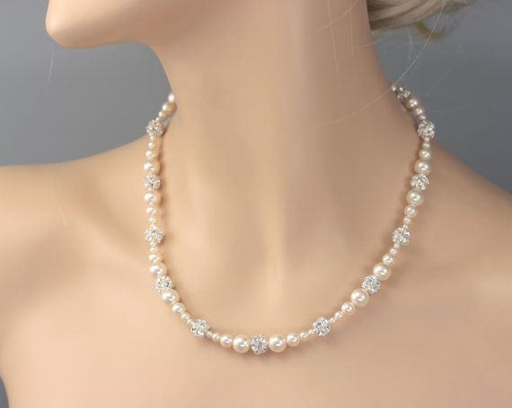 Ivory Pearl Wedding Necklace White Pearl Necklace for