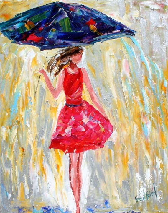 Rain and Red Dress // Karen Tarlton Fine Art - Original Oil Paintings