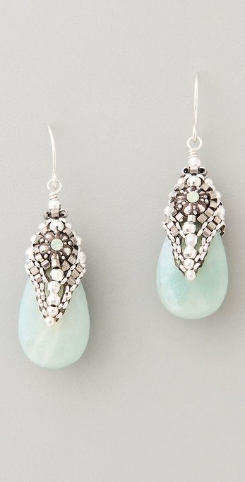 A little something blue? | Miguel Ases Amazonite & Crystal Drop Earrings
