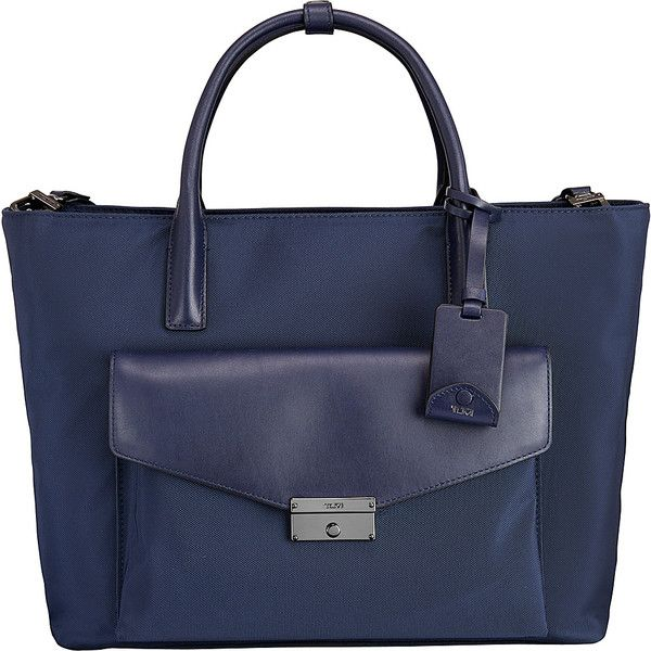 Tumi Larkin Small Tanya Tote - Indigo - Work Totes ($259) ❤ liked on Polyvore featuring bags, handbags, tote bags, blue, genuine leather tote, tote purses, blue leather tote bag, leather purses and handbags totes