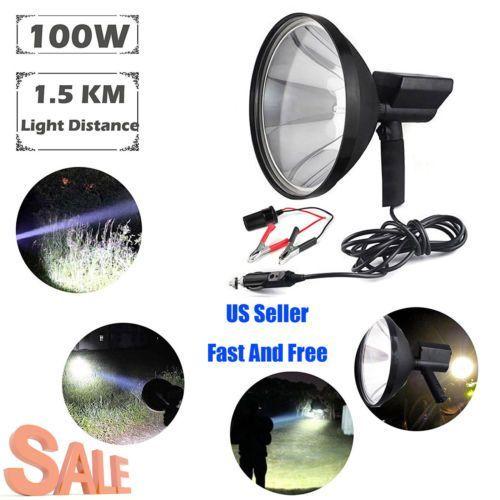 "9""100W Cree HID Rechargable Handheld Spotlight Shooting Hunting Camping Light US #campinglights"