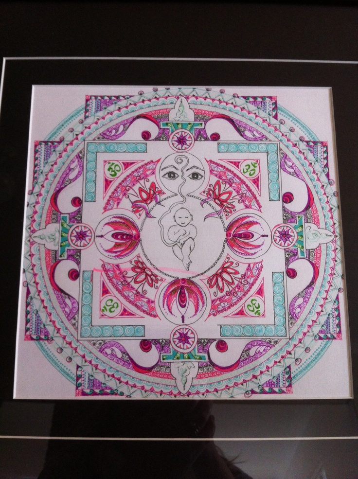 Placenta-mandala done for my bubba girl while she was still in-utero... Despite my best efforts to make her appear sleeping, in all my drafts (and final copy) the baby was smiling...