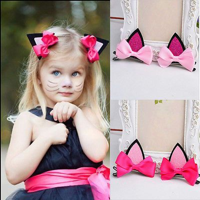 2Pcs Cute Hair Clip Cat Ears Hairpins Barrettes Headwear For Baby Girls Kids