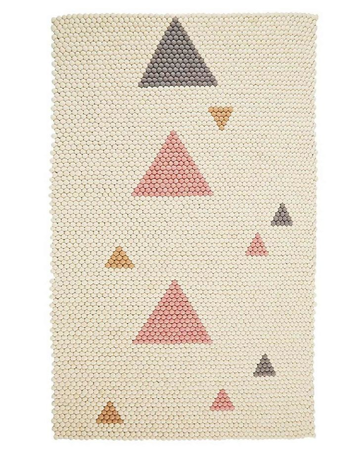 Olli Ella Felt Ball Rugs - Teepee Pink- 100% Wool  Carpets