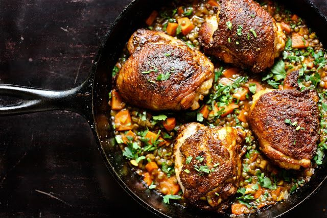 Crispy Berbere Chicken with Ethiopian Lentils from Feasting at Home.  A great use of Berbere Spice, which you can buy at The Herb Shop Lancaster!