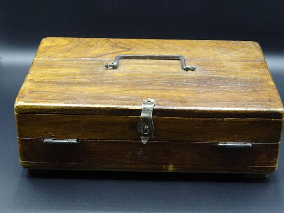 Antique Wooden Writing Box Stationary Storage Box Vintage