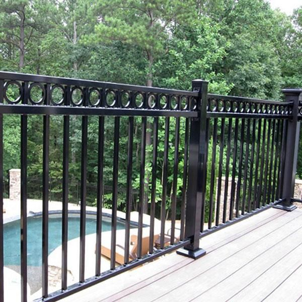 Fortress AL13 Aluminum Deck Railing in Gloss Black with Fortress AL13 Ring Top Accent Panel, and Post Base Covers