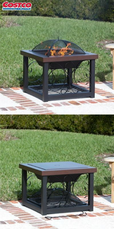 Enjoy your cocktails next to the fire year round with this decorative fire pit that doubles as an attractive cocktail table. Constructed of thick and sturdy high grade steel with the top powder coated in our durable hammered bronze finish and frame powder coated in a clean black finish, so you can expect a better built, longer-lasting fire pit. This fire pit includes a grilling rack for additional year round usage. For additional protection this model comes with a water resistant vinyl…