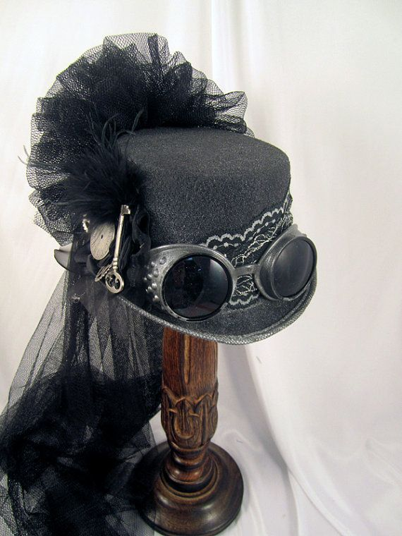 Steampunk Gun Metal Riding Hat with Goggles and by JillieKatHats, $79.00