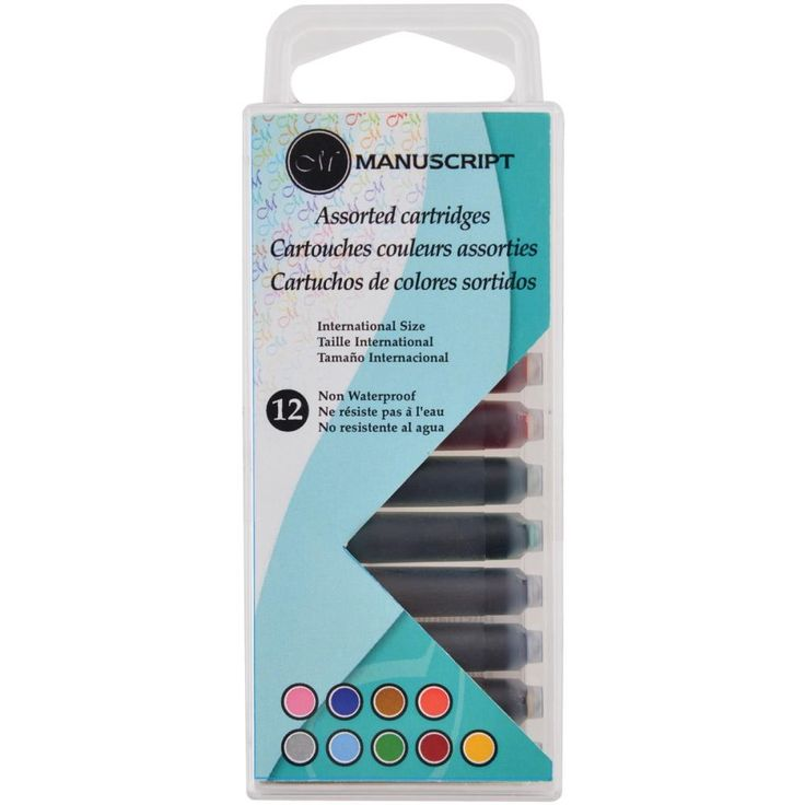 Manuscript Pen-Calligraphy Cartridges. Refill your manuscript calligraphy pens with this fun set of assorted cartridge colours. This package contains twelve 1-1/2 inch long creative cartridges in nine different colours (one or two of each).