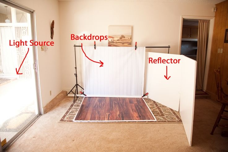 One way to set up studio style pics in home @Andrea would this work for you