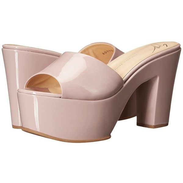 Giuseppe Zanotti Patent Open Toe Clog (Ver Rosa) Women's Shoes ($440) ❤ liked on Polyvore featuring shoes, clogs, heels, peep toe platform shoes, platform clogs, block heel shoes, open toe shoes and patent leather clogs